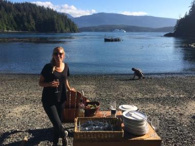 Salmon dinner at the Compton Island
