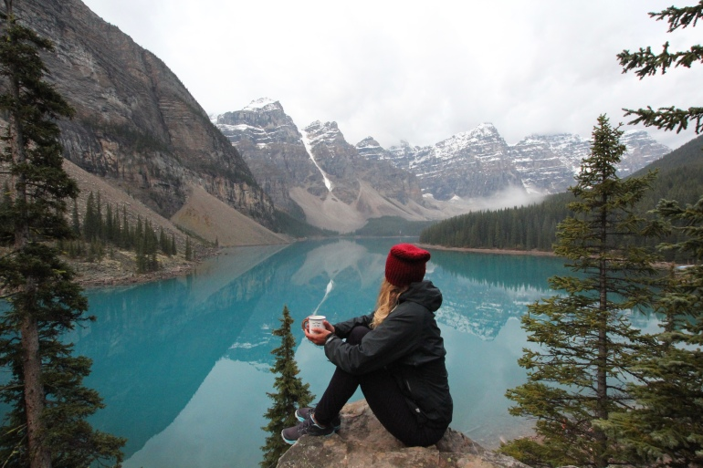 Travel minded People at Lake Moraine