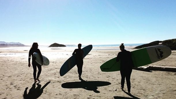 Travelminded People surfing in Tofino