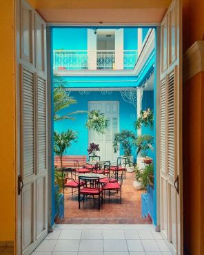Beautiful courtyard of Hotel La Union in Cienfuegos_This town is called Cuban Paris for it's old colonial houses